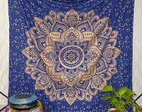 Bedspread Indian 100% Cotton Fabric Floral Ombre Mandala Blue Color Gold dye Queen Size Royal Bed sheet Tapestry