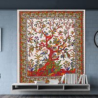 Lifestyle Indian Tree Of Life Design Hand Printed Wall Decor Full Of Life Bedspread Bed Sheet Tapestry