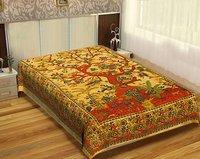 Hand printed Fabric Indian Cotton Handmade Tree Of Life Printed Single Beach Yellow Base Tapestry