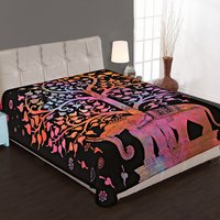 Elephant Mandala Tree of Life Multi color Tie and Dye Handmade Wall hanging Bed sheet Tapestry