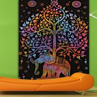 Tree Of Life Design Indian 100 % Cotton Handmade Elephant Multicolor Bedspread Bedsheets Tapestry