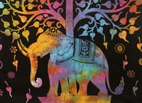 Elephant Tree Of Life Design Indian 100 % Cotton Handmade Multicolor Bedspread Bedsheets Tapestry
