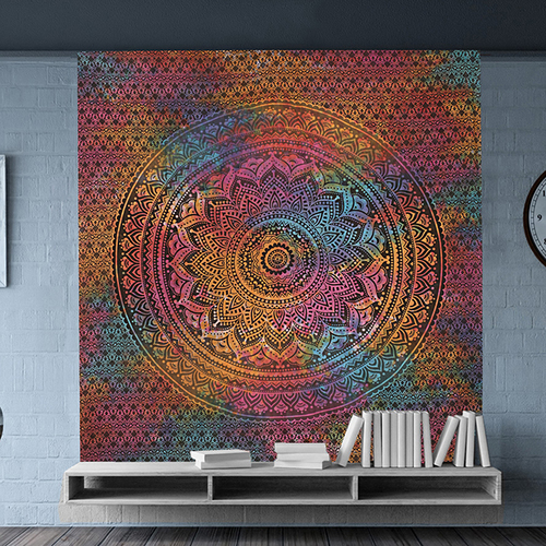 Ombre Mandala Multi Color Indian Cotton Tie Dye Wall Hangings Bed Sheet Bedspread Home Decor Tapestry