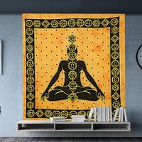Cotton Fabric Printed Wall Decor Buddha Serenity Spiritual Hippie Indian Cotton Wall Hangings Bedspread Tapestry