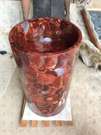 Red Carnelian Pedestal Wash Basin
