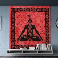Buddha Serenity Spiritual Hippie Indian 100 % Cotton Cotton Fabric Printed Wall Decor Wall Hangings Bedspread Bed sheet Tapestry