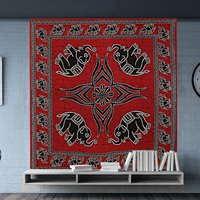 Elephant Printed Beautiful Wholesale Bed Sheet Indian 100% Cotton Bedspread Wall Hangings Tapestry