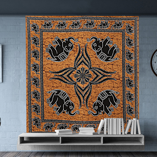Beautiful Wholesale Bed Sheet Indian 100% Cotton Elephant Printed Bedspread Wall Hangings Tapestry