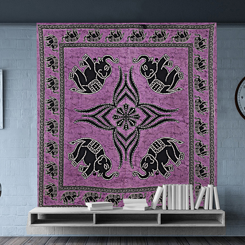 Indian 100% Cotton Elephant Printed Beautiful Bed Sheet Bedspread Wall Hangings Tapestry