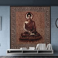 Buddha Peace Serenity Printed Wall Decor Indian Cotton Bedspread Bed Sheet Home Decor Tapestry