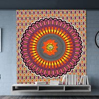 Religious Traditional Wall Decor Indian Cotton Hand Printed Ombre Mandala Bedspread Tapestry