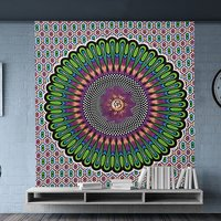 Ombre Mandala Religious Traditional Wall Decor Bedspread Bed sheets Indian 100% Cotton Hand Printed Wall Decor Tapestry