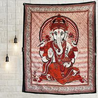Religious Traditional Wall Decor Indian100% Lord Ganesha Bedspread Home Decor Hand Printed Bedsheet Tapestry