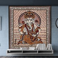 Indian Lord Ganesha Religious Traditional Wall Decor Bedspread Home Decor Hand Printed Tapestry