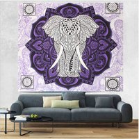 Indian Home Furnishing Wall Hangings Mandala Tapestry Elephant and Lotus Design Violet Color Hand Printed Handmade Tapestry