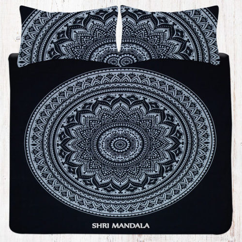 Black and White Full Size Hippie Mandala Bed Set King Size Hippie Bedding Set