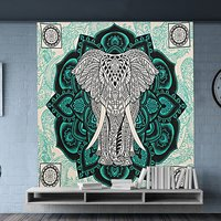 Home Furnishing Wall Hangings Indian Mandala Tapestry Elephant and Lotus Design Violet Color Hand Printed Handmade Tapestry