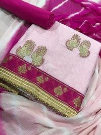 Slub Cotton Embroidered Straight Dress Material