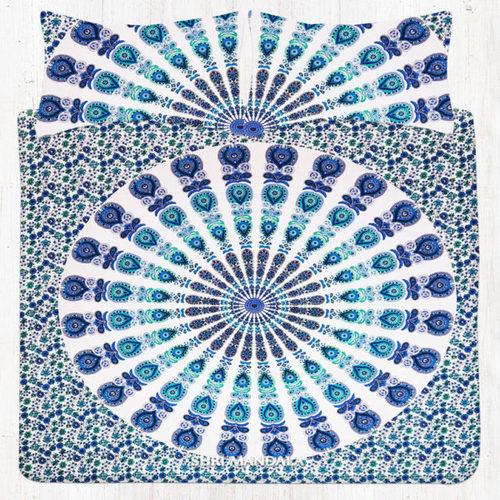 Blue Green Peacock Hippie Mandala Bedding Bed Sheet Set
