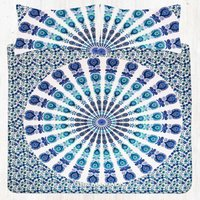 Blue Green Peacock Hippie Mandala Bedding Bed Sheet Set