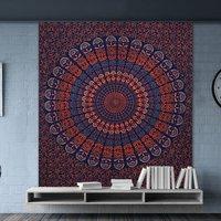 Indian Hand Block Sanganeri Floral Print Mandala Bohemian Wall Hanging Tapestry