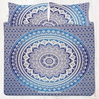 Blue Ombre Mandala Cotton King Size Hippie Bedding Set