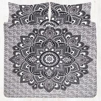Black Gray Lotus Hippie Mandala Queen Size Bedding Set With Pillow Covers
