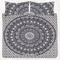 Black And White Twin Size Elephant Mandala Bed Sheet Set