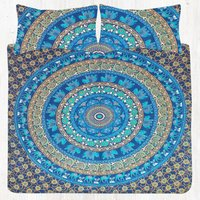 Blue Base Green Camel Elephant Floral Mandala Bedding Twin