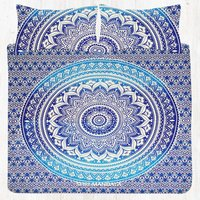 Blue Ombre Twin Size Mandala Bed Sheet Set With Two Pillow Covers