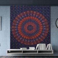 Bedspread Indian Hand Block Sanganeri Print Mandala Bohemian Wall Hanging Tapestry