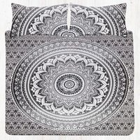 Grey Twin Size Ombre Mandala Bed Set with Two Matching Pillow Covers