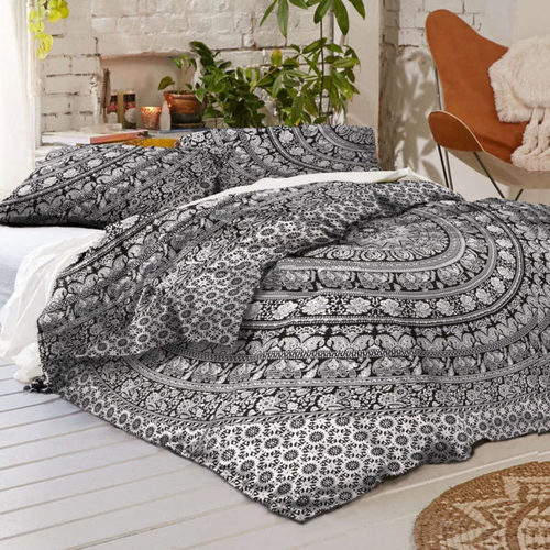 Elephant Bohemian Mandala Duvet Doona Covet With Two Pillow Cases