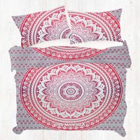 Carrot Red Ombre King Mandala Duvet Cover Set