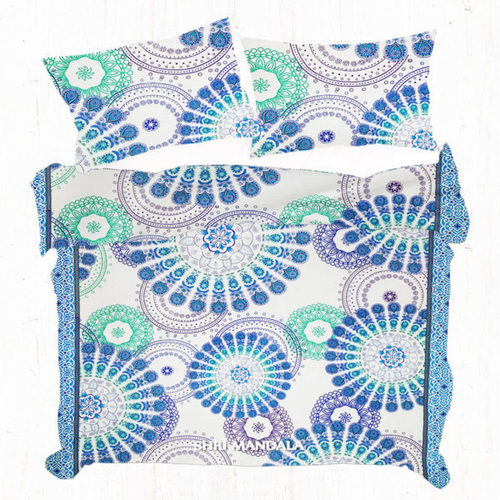 Blue Green and Purple King Size Multi Mandala Duvet Cover Set