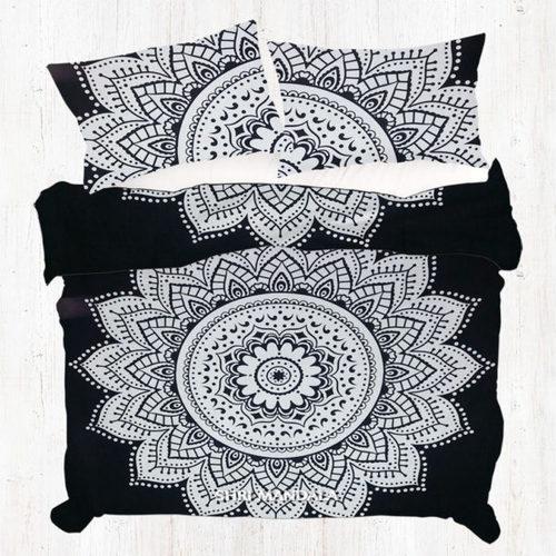 White Round Floral Mandala Duvet Doona Cover Quilt Cover Set Pillow Cases