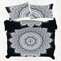White Round Floral Mandala Duvet Doona Cover Quilt Cover Set Pillow Cases