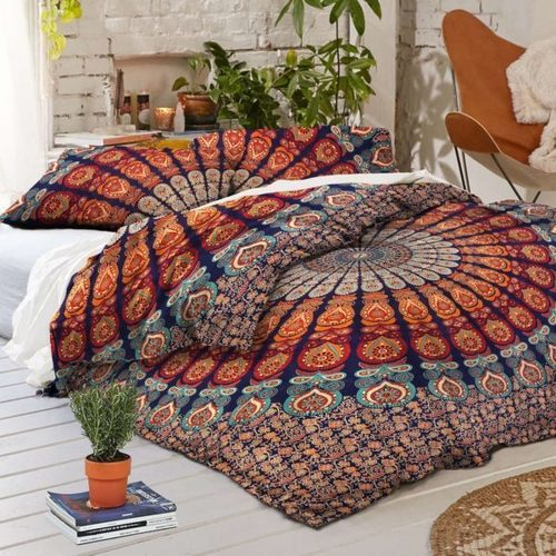 Blue Base Colorful Bohemian Duvet Covers Quilt Cover Set