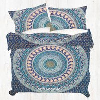 Blue Base Orange Brown Elephant Bohemian Duvet Cover Quilt Cover Set