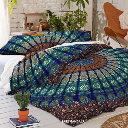 Blue Green Hippie Mandala Duvet Cover Queen Size Quilt Cover Set