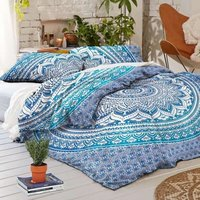 Blue Ombre Twin Size Hippie Mandala Duvet Set Quilt Cover