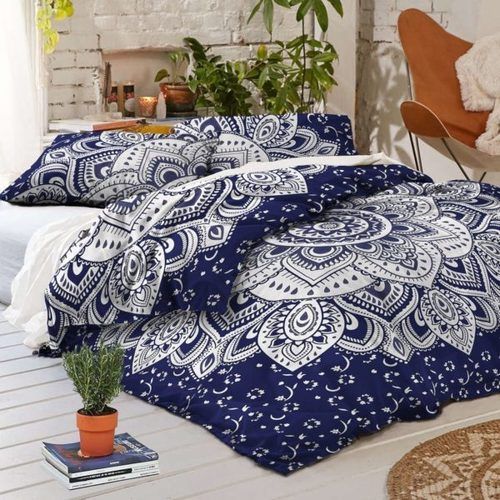 Blue Silver Floral Duvet Doona Covet Set Twin Size Quilt Cover