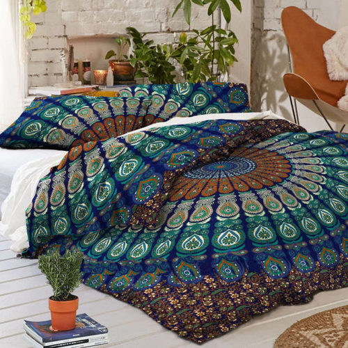 Blue Base Green Twin Size Indian Mandala Duvet Cover Set