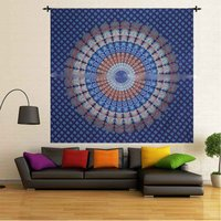 Cotton Handmade Indian 100% Naptol Print Peacock Mandala Bohemian Wall Hanging Home Decor Bedspread Bed Sheet Tapestry