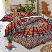 Multi Color Twin Mandala Duvet Cover Set with Pillow Cases Quilt Cover