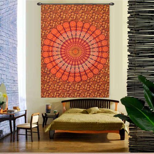 Handmade Indian 100% Cotton Naptol Print Peacock Mandala Bohemian Wall Hanging Home Decor Bedspread Bed Sheet Tapestry