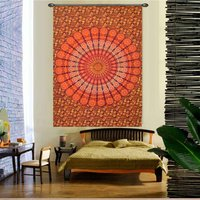 Handmade Indian 100% Cotton Naptol Print Peacock Mandala Bohemian Wall Hanging Home Decor Bedspread Bed Sheet Tapestry