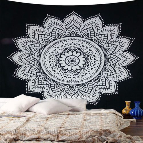 Round Floral Queen Mandala Tapestry Wall Hanging