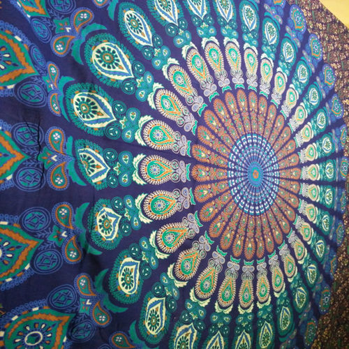Blue Green Indian Hippie Tapestry Mandala Wall Hanging Throw