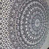 Floral Hippie Elephant Mandala Tapestry E